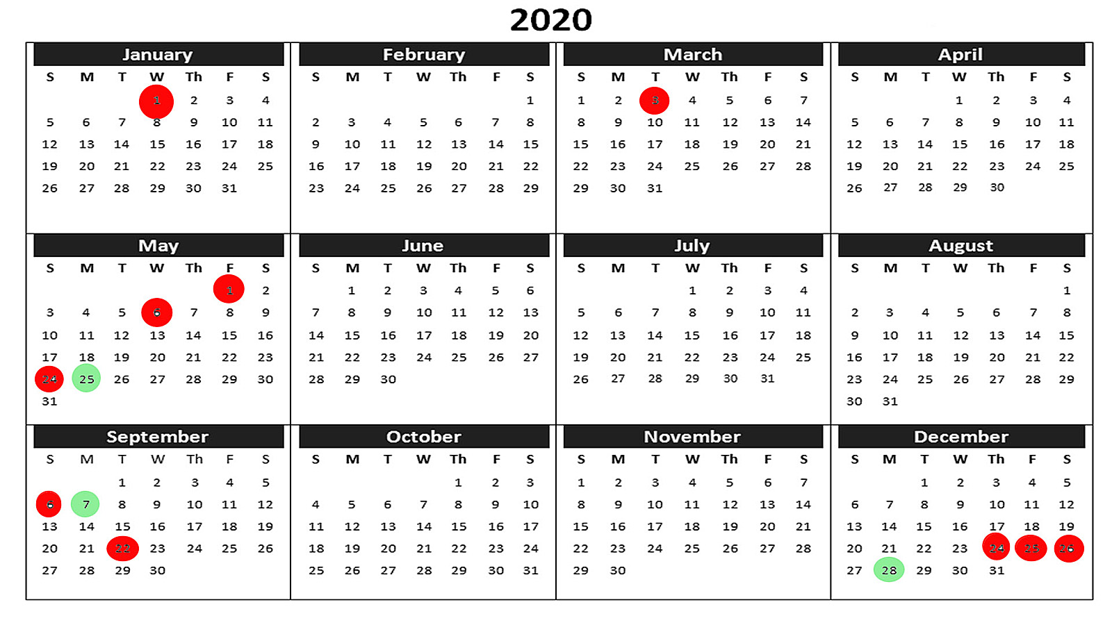 Календар 2020 година
